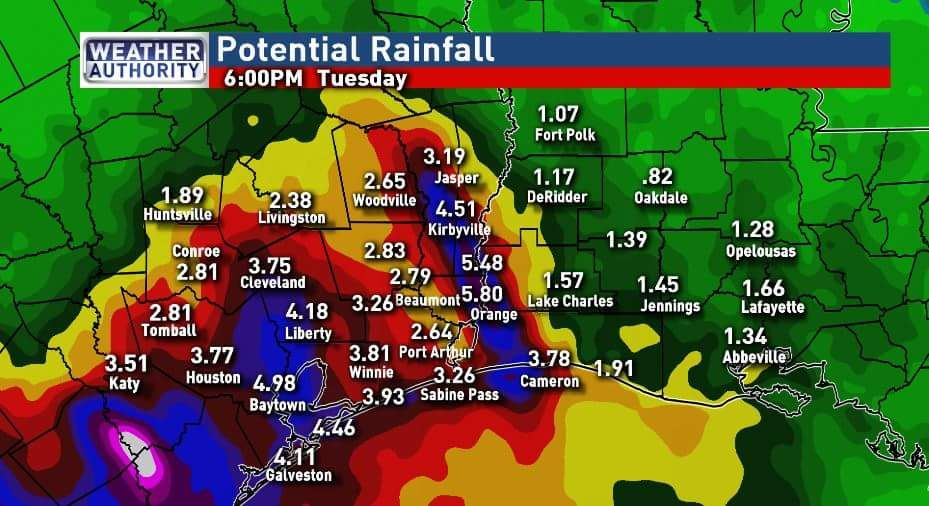 Projected rainfall totals
